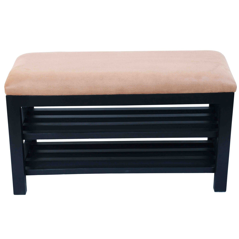 amazoncom homcom entryway shoe storage organizer bench brown kitchen u0026 dining