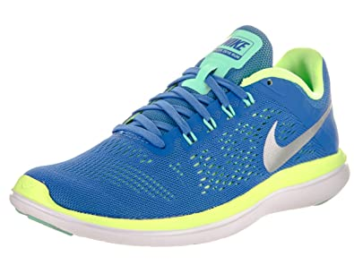 online retailer 73029 f846e Nike Women s Flex 2016 RN Running Shoe, Fountain Blue Metallic Silver, ...