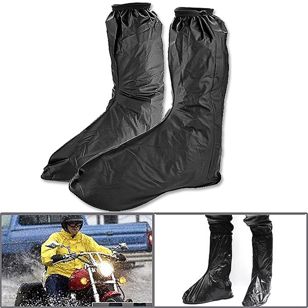 Black Motorcycle Keep Foot Leg Dry Rain Boot Shoes Covers Gear Anti Slip Sole Side Zippered US Men Adult Size 10-11 Euro 44 45