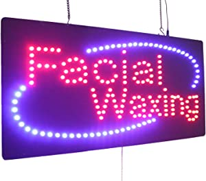 Facial Waxing Sign, TOPKING Signage, LED Neon Open, Store, Window, Shop, Business, Display, Grand Opening Gift
