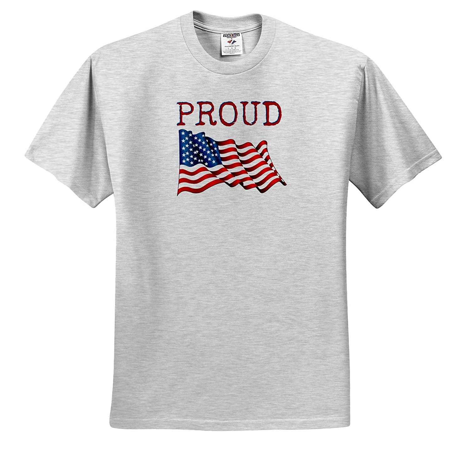 3dRose Carrie Quote Image Image of Flag Quote of Proud Adult T-Shirt XL ts/_320020