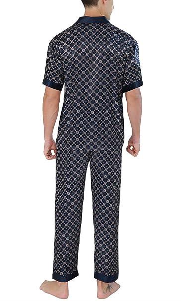 Lanceyy Pijama De Hombre Satinado Estampado Retro De Largo Simple Estilo Dos Piezas Pijama De Verano Pijama De Hombre con Usted Camisa Cuello con Bolsillo: ...