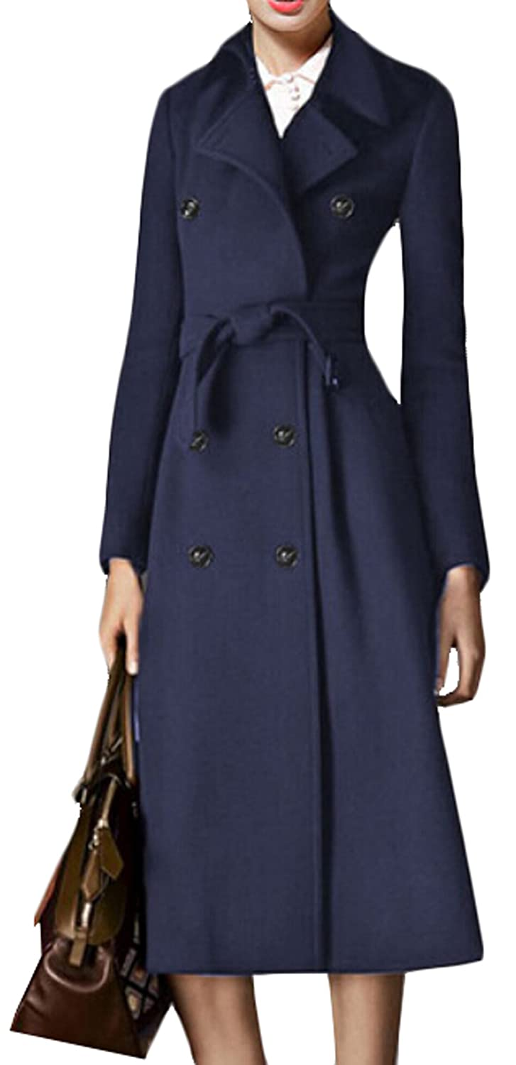 ouxiuli Women Winter Belt with Elegant Wool Pea Coat