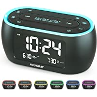 Housbay Glow Small Alarm Clock Radio for Bedrooms with 7 Color Night Light, Dual Alarm, Dimmer, USB Charger, Battery…