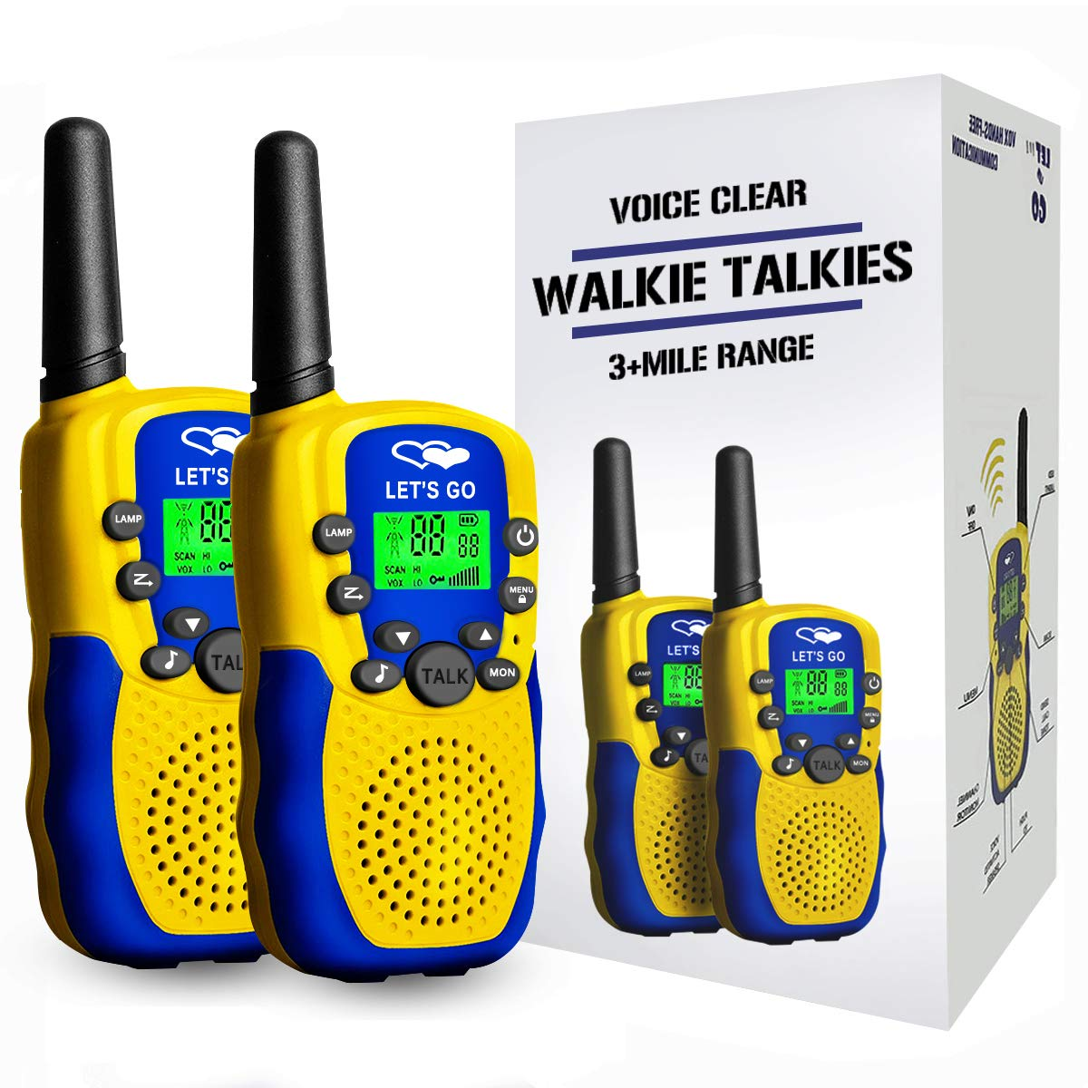 Walkie Talkies for Kids Boys Girls, Ouwen Long Range Walkie Talkies for Kids Popular Hottest Outdoor Toys for 3-12 Year Old Boys Girls Kids Toys Age 3-12 New Gift Yellow Blue Owusdd09 by Tesoky (Image #1)