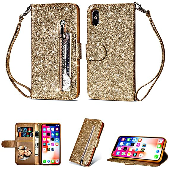 Amazon.com: Glamorous Bling Gold Leather Wallet Case Credit ...