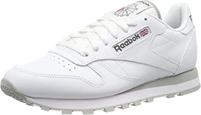 Calvo yermo llevar a cabo  Reebok Classic Leather - Zapatillas de cuero para hombre, color blanco  (int-white / lt. grey), talla 45: Amazon.es: Zapatos y complementos