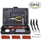 Riparazione Pneumatici, TECCPO Professional 93 Pezzi, Kit di Riparazione Pneumatici, Disponibile per Tutti i Pneumatici per Auto, Moto, ATV, Jeep, Camion, Trattori - THTC04H