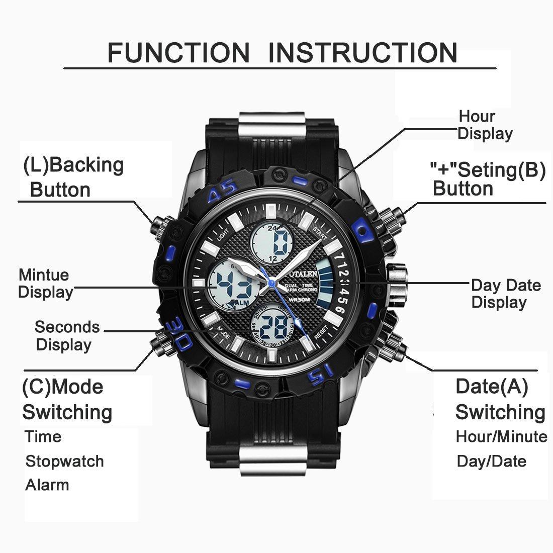 Relojes deportivos digitales para hombre, reloj analógico electrónico resistente al agua al aire libre con cronómetro/alarma/temporizador/luz LED/fecha de ...