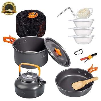e874a0eca9b Overmont 11Pcs Kit de Utensilios Cocina Camping Olla Sartén Tetera Vajilla  para Acampada Senderismo Excursión al Aire Llibre de Aluminio: Amazon.es:  ...