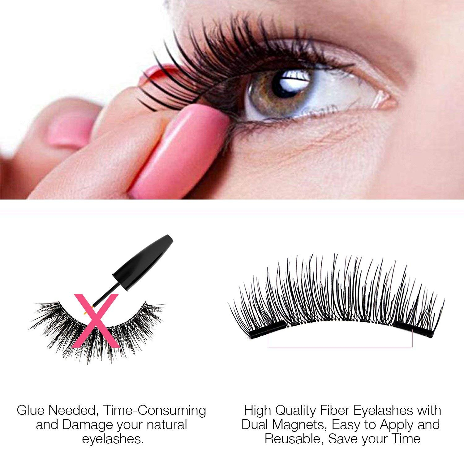 3d Magnetic Eyelashes Natural Magnet Lashes Extension Glue Free Fake Mink Lashes1 Pair 4 Pieces