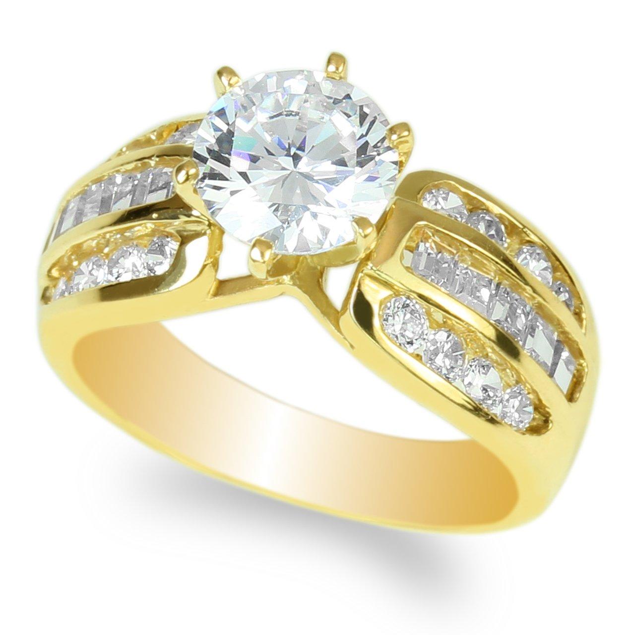 JamesJenny Ladies 10K Yellow Gold 1.5ct Round CZ Wedding Solitaire Ring Size 8
