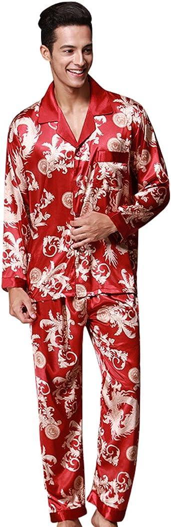 Hombre Pajamas Set Serie Pijama Casual y Cómodo(X-Large, Rojo ...