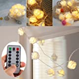 [UPDATED VERSION] Battery Operated 15 ft 30 LED White Rose Flower Fairy String Lights with Remote for Valentine's, Wedding, Bedroom, Indoor Decoration (Dimmable, Timer, 8 Modes, Warm White)