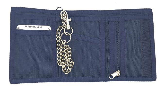 Stadlbauer Hombre Monedero/Cartera, lino, cierre de velcro, incluye cadena y clip de cinturón, einfarbig