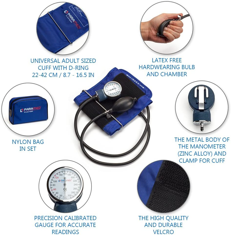Professional Manual Blood Pressure Cuff Aneroid Sphygmomanometer with Durable Carrying Case by Paramed Lifetime Calibration for Accurate Readings Dark Blue