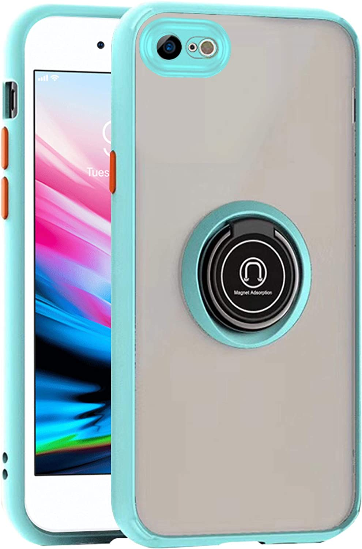 Apple iPhone 8 / iPhone 7 Transparent Slim Matte Colored Frame Shockproof Hybrid Ring Stand Magnet Car Mount Case Cover Teal