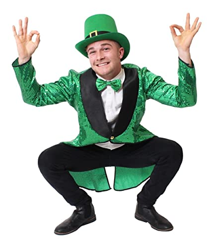 76c1b570 ADULTS LEPRECHAUN FANCY DRESS COSTUME - ST PATRICKS DAY FANCY DRESS - GREEN  SEQUIN TAILCOAT, GREEN TOP HAT AND GREEN BOW TIE (X-SMALL): Amazon.co.uk:  Toys & ...