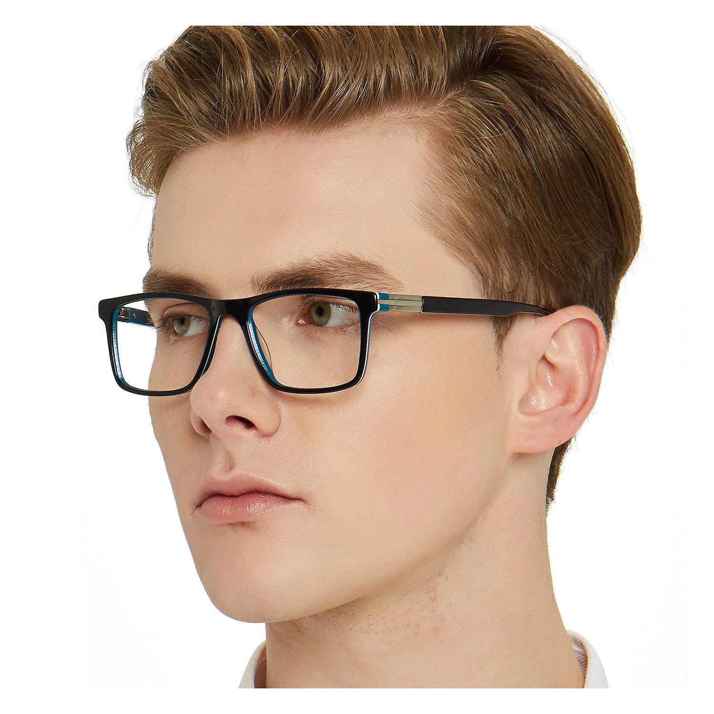 3ab57a3e393 OCCI CHIARI Men Fashion Rectangle Stylish Eyewear Frame With Non-Prescription  Clear Lens