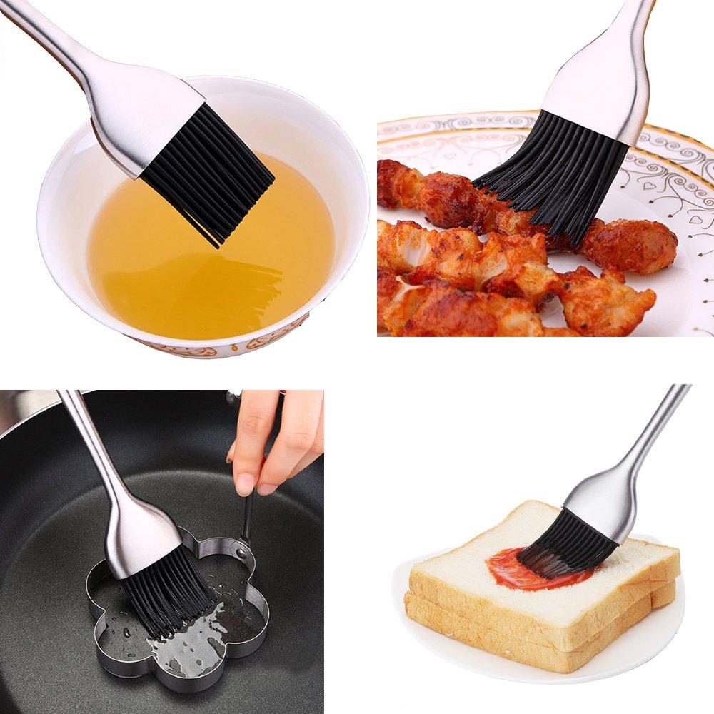 AIYoo - Cepillo de base para barbacoa para hornear y cocinar, cerdas de silicona con mango de acero inoxidable hueco, pack de 2 tamaños, 12 pulgadas/7 ...