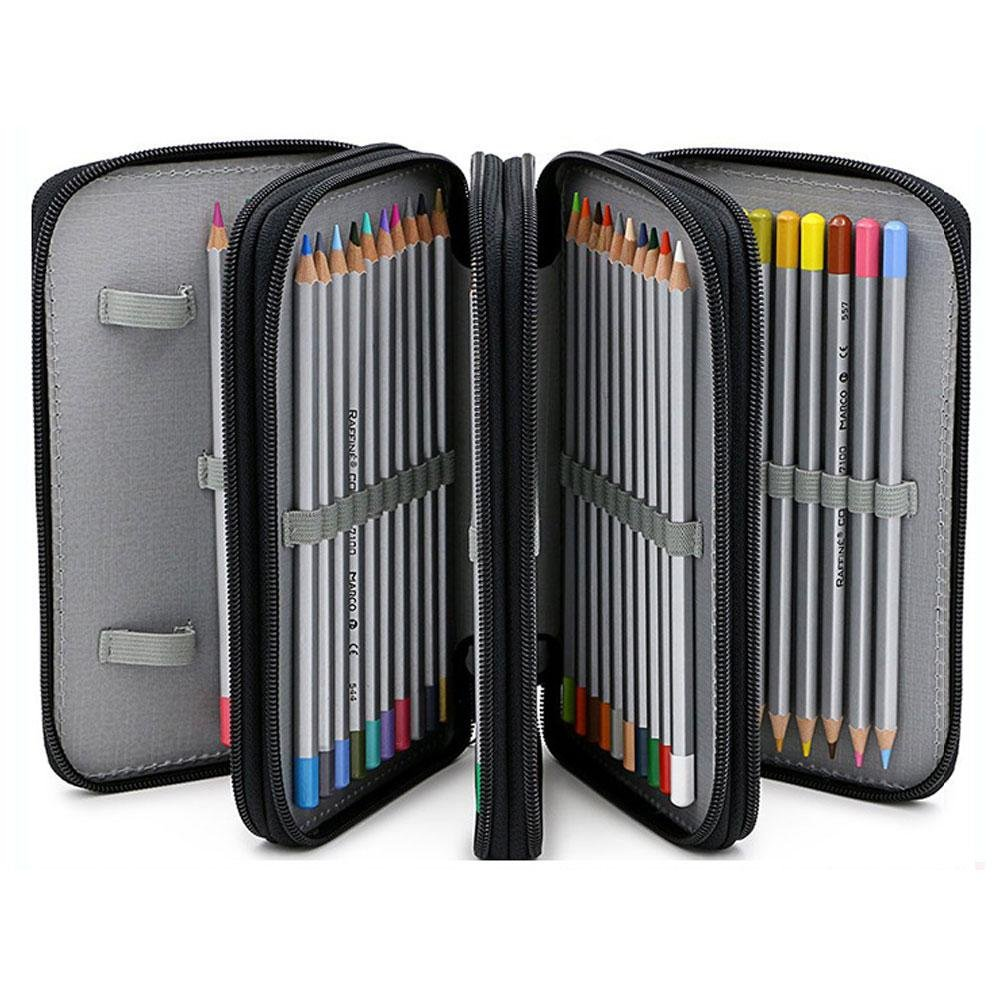 72 Slots Pencil Organizer Storage 4 Layer Large Capacity Pen Bag Pouch for Boy Girl Student School Office Art Craft By Pawaca Grey Colored Pencil Case