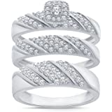 3/4CT TW Simulated Diamond Trio Set in Sterling Silver, Wedding Rings For Him and Her