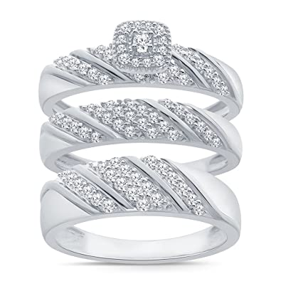 Amazon Com 3 4ct Simulated Diamond Trio Ring Set In Sterling Silver