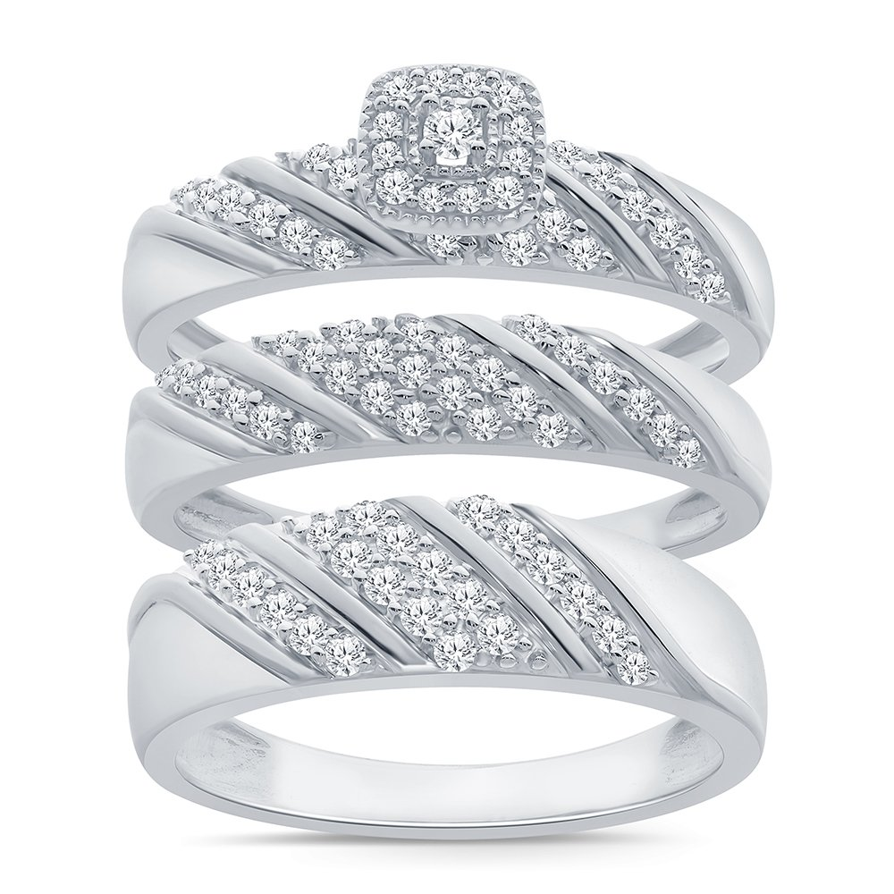 3/4ct Simulated Diamond Trio Ring Set in Sterling Silver, Wedding Ring For Him US10 and Her US7