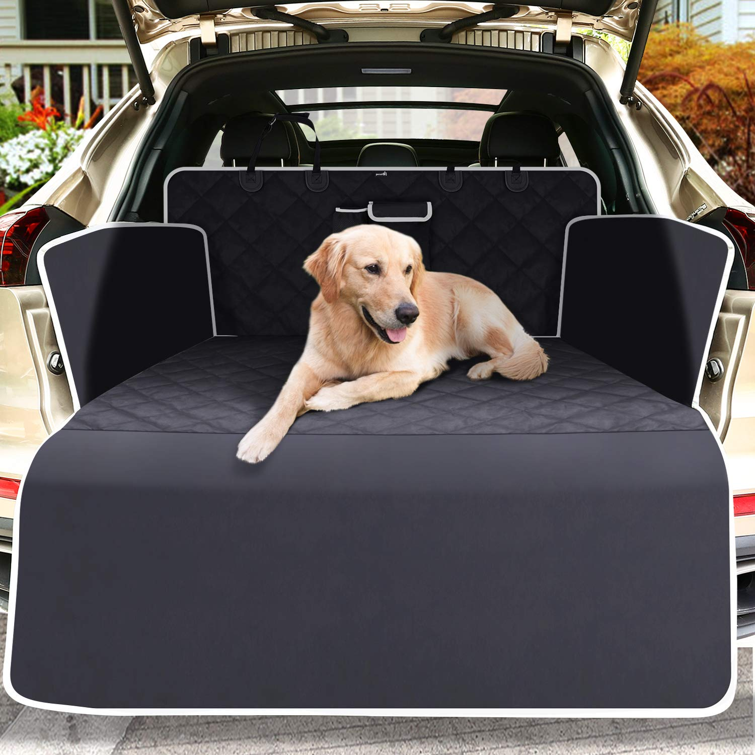 Pecute Car Boot Cover for Dogs, Boot Liner Protector - Waterproof, Washable, Dirt Resistant, Protective Blanket for Cargo Liner, Trunk Travel Blanket for Cars, SUVs, Trucks