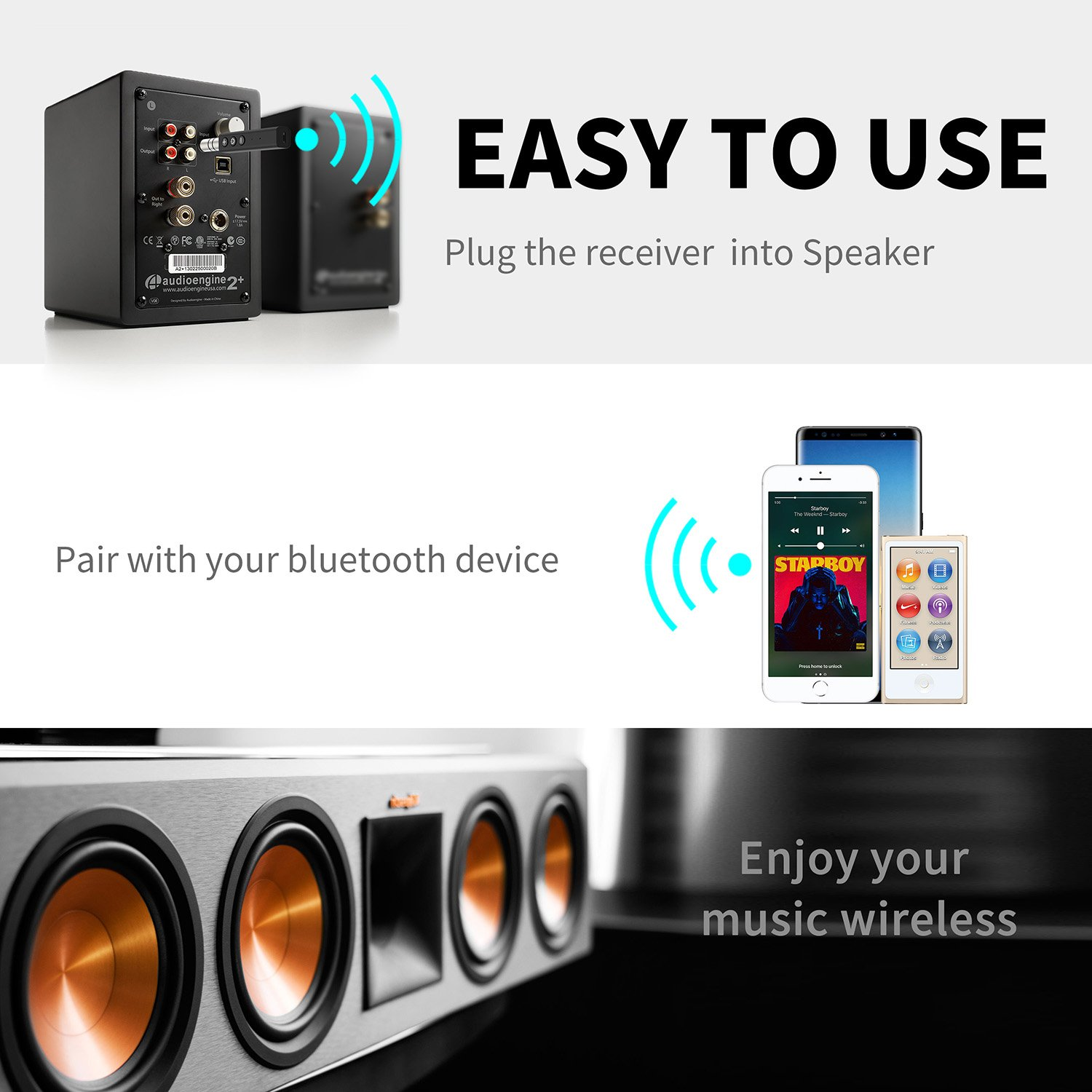 Portable Clip Wireless Audio Adapter 3.5mm Aux Stereo Output for Home//Car Audio Music Streaming System Voice Assistant, A2DP, Built-in Microphone SZMDLX Bluetooth 5.0 Receiver//Bluetooth Car Kit