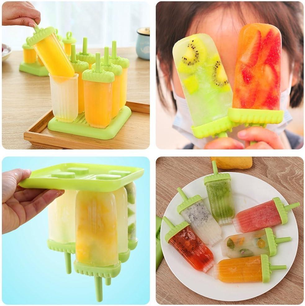 Popsicle Formen Set mit Reinigungsb/ürste und Falttrichter Hepooya Eisformen Stieleisformer 6 St/ück Eis am Stiel und 2 St/ück Eislutscher Formen aus Silikon BPA Frei
