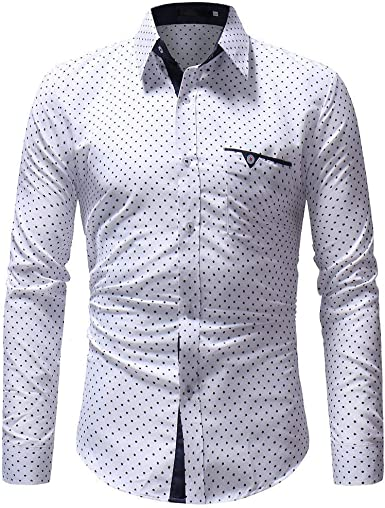 Camisa para Hombre De Sin Hierro Manga Larga Festiva Ropa Mumuj Fashion Dot Printing Otoño Casual Polka Formal Camisa Slim Fit Wedding Tops Boss Blusa Fiesta Festiva Tops: Amazon.es: Ropa y accesorios