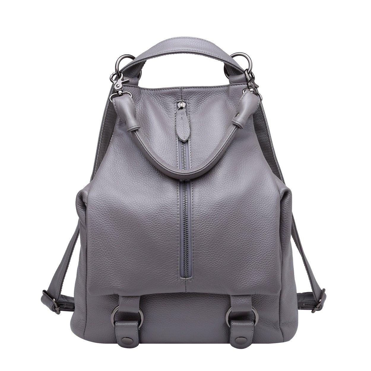BOYATU Womens Leather Backpack Purse Mini Shoulder Bag Stylish Rucksack for Girl (Grey)
