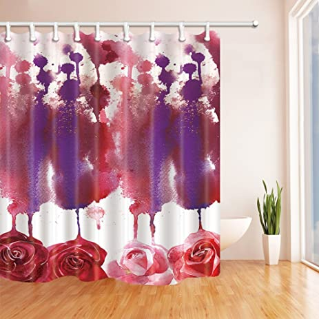 NYMB Splashing Watercolor Drops Colorful Roses Shower Curtain 69X70 Inches Mildew Resistant Polyester Fabric Bathroom Fantastic