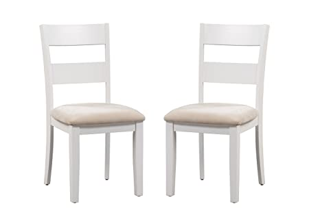 Trithi Furniture Fullerton Solid Wood White Kitchen Dining Chair with Upholstered Seat, Set of 2