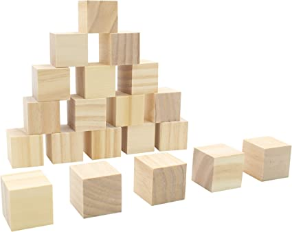 20pcs Wood Unfinished Wooden Blocks Wood Pieces Unpainted Crafts Carving