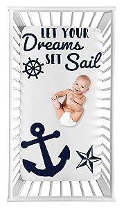 Sweet Jojo Designs Navy Blue White Anchors Boy Girl Fitted Crib Sheet Baby Toddler Bed Nursery Photo Op - Nautical Theme Ocean Sailboat Sea Marine Sailor Anchor Dreams Set Sail Unisex Gender Neutral