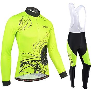 BXIO Invierno Polar de Lana Jersey de Ciclismo, Ropa de otoño de la Bicicleta Fluo Amarillo Cremallera Completa Ropa de Ciclismo MTB Road Bike Wear ...