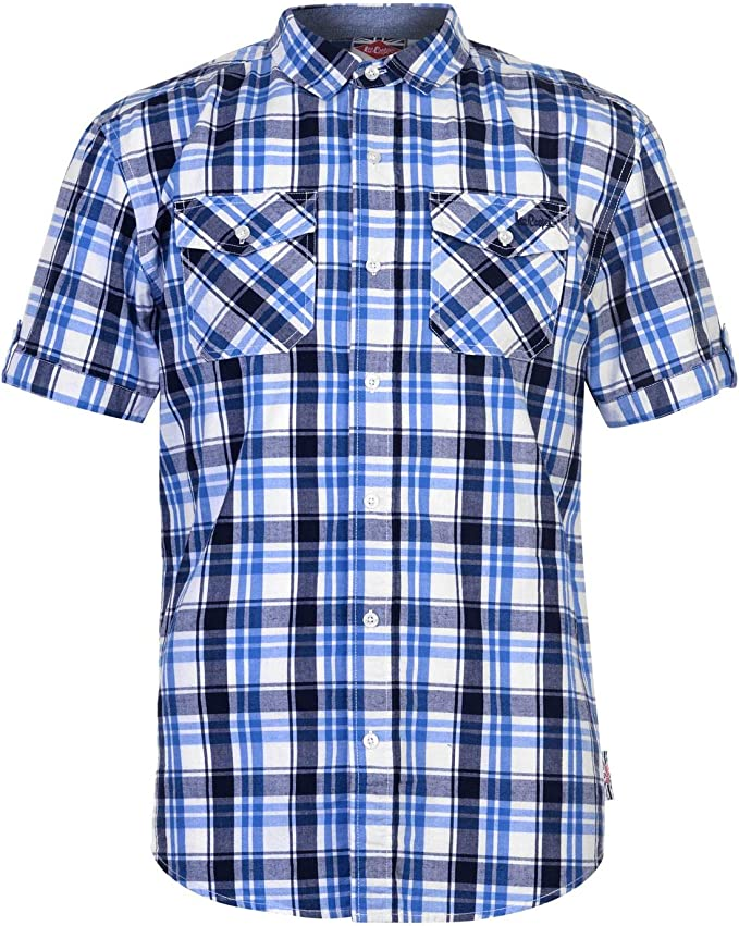 Mens Lee Cooper Chest Pockets Short Sleeve Checked Cotton
