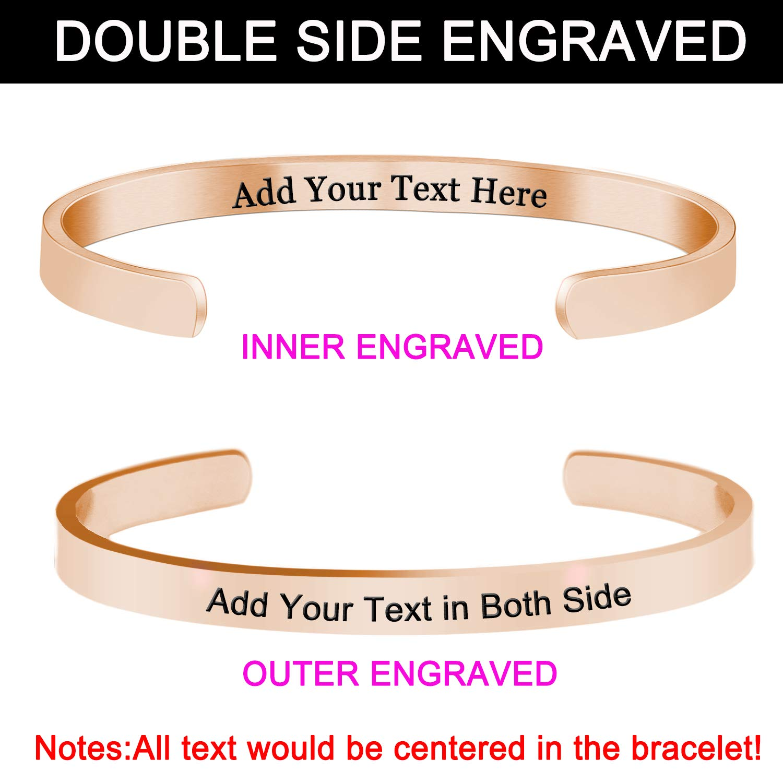 gravure Bracelets Manchette cadeaux personnalis/és pour femme Girls-double c/ôt/é grav/é personnalis/é Bracelets pour femme