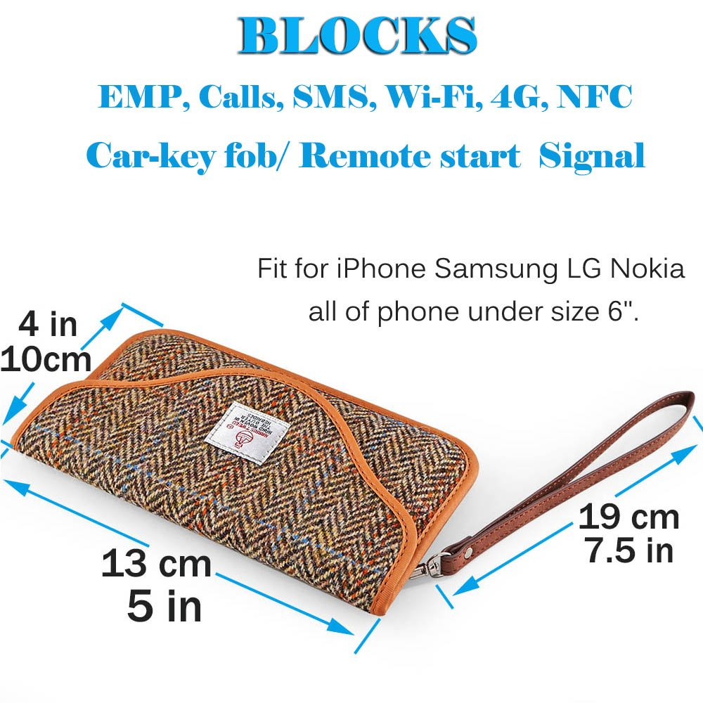Brown Key Fob Pouch Guard Faraday Case Faraday Cage RFID Car Key Fob Protector Cell Phone Radio Signal Blocking Pocket,Car Safe for Keyless Entry Remote Faraday Bag Key Fob Signal Blocker Wallet
