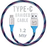iVoltaa Pixie Type-C to USB 2.0 Braided Cable - 4 Feet (1.2 Meter) - Kyber Blue
