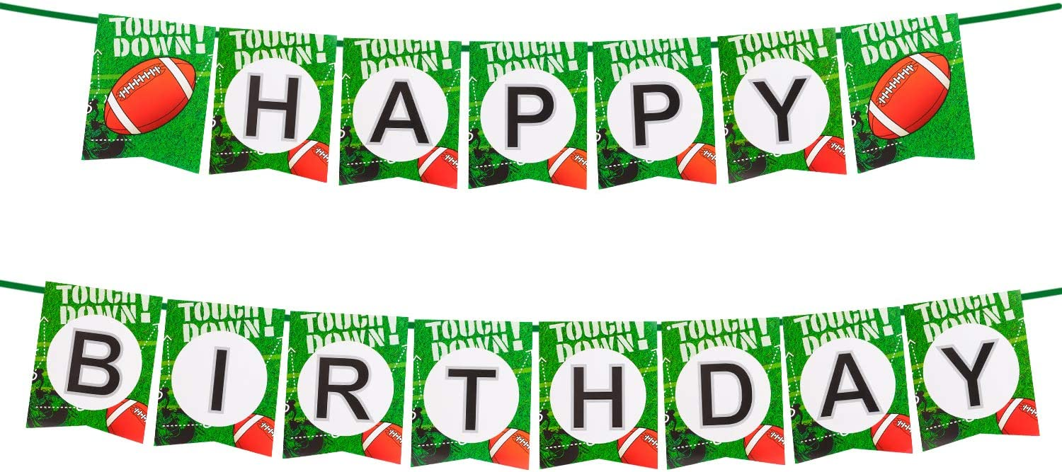 Football Theme Birthday Party Supplies Set Decorations Kits,Football Bar Birthday Banner,Balloons,Socket Cupcake Toppers,tablecloth,Gold Flat Ribbon for Kids Boys Teenagers Sport Party Supplies (BANNER)