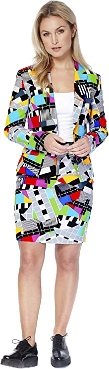 80s Costumes, Outfit Ideas- Girls and Guys Opposuits Christmas Suits for Women in Different Prints - Ugly Xmas Sweater Costumes Include Blazer and Skirt $34.99 AT vintagedancer.com