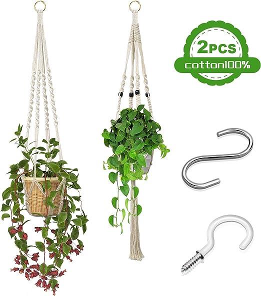 Colgador de Plantas, 2 Unidades Macetas Macrame Plantas, Soporte para Macetas de Flores de Algodón para Colgar Macetas para Jardín al Aire Libre, Decoración del Hogar, 2 Ganchos para Colgar Plantas: Amazon.es: