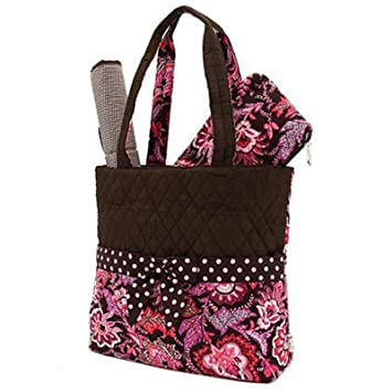 496f74701f Amazon.com   Belvah Quilted Floral 3pc Diaper Bag (Brown  Pink)   Travel  Bags For Women   Baby