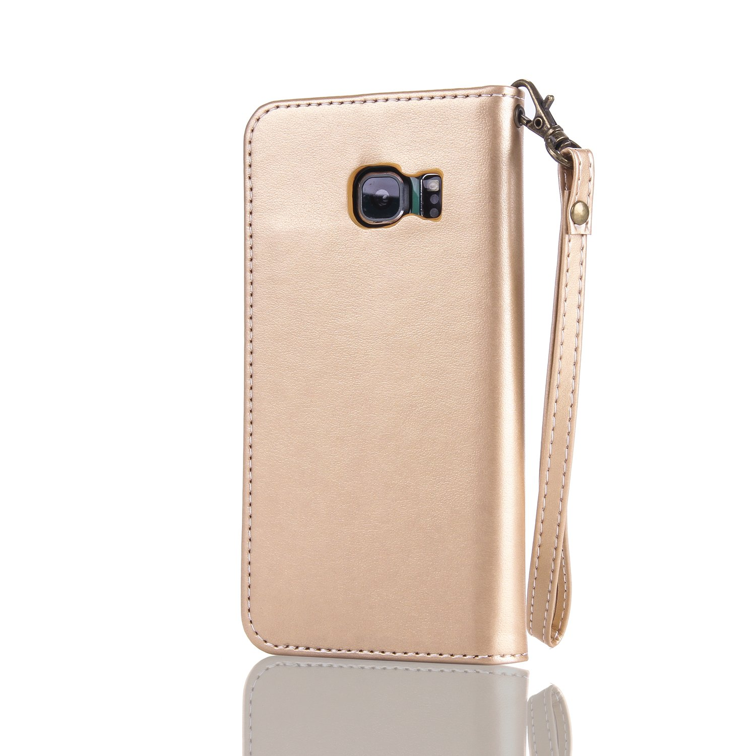 Lomogo Flower Embossing Galaxy S6 Edge Leather Wallet Case with Kickstand Credit Card Holder Magnetic Closure Shockproof Flip Case Cover for Samsung Galaxy S6 Edge Gold