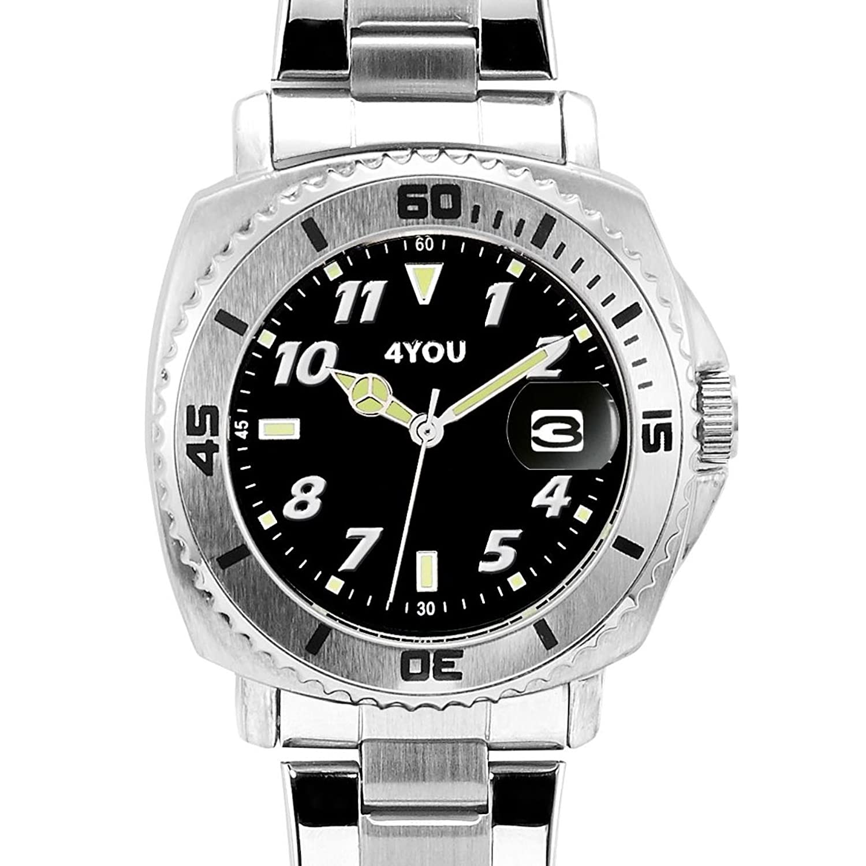 4 YOU Herren-Armbanduhr Analog Quarz Edelstahl 250003002