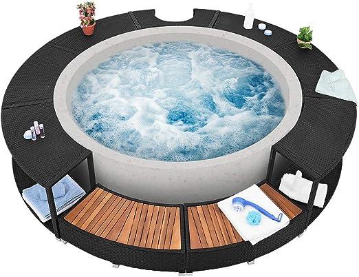 Borde para jacuzzi y bañera de hidromasaje XXL, fabricado en ratán ...