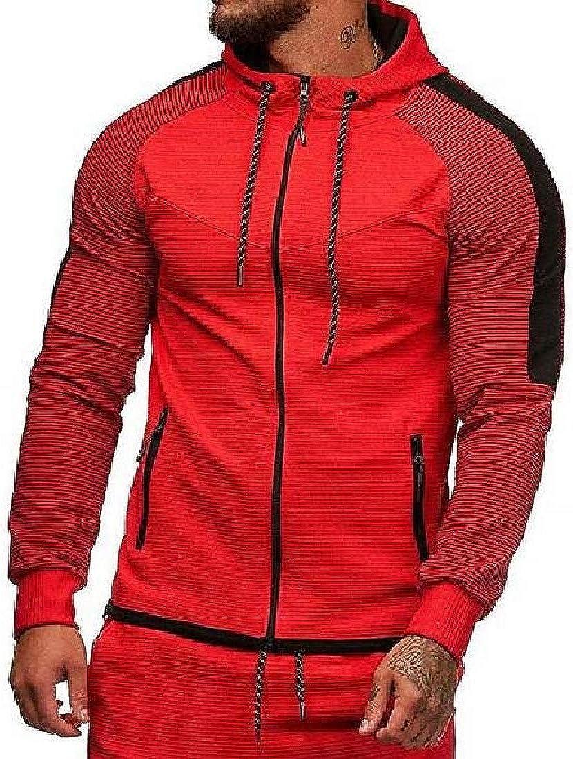 SHOWNO Mens Contrast Stripe Hooded Slim Casual Sport Jacket Sweatshirt Coat